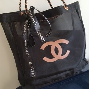 CHANEL VIP Gift Large Mesh CC Tote Rose Gold